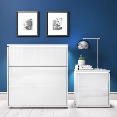 Best Lucia Led White High Gloss Bedside Table And Chest Of 400 x 300