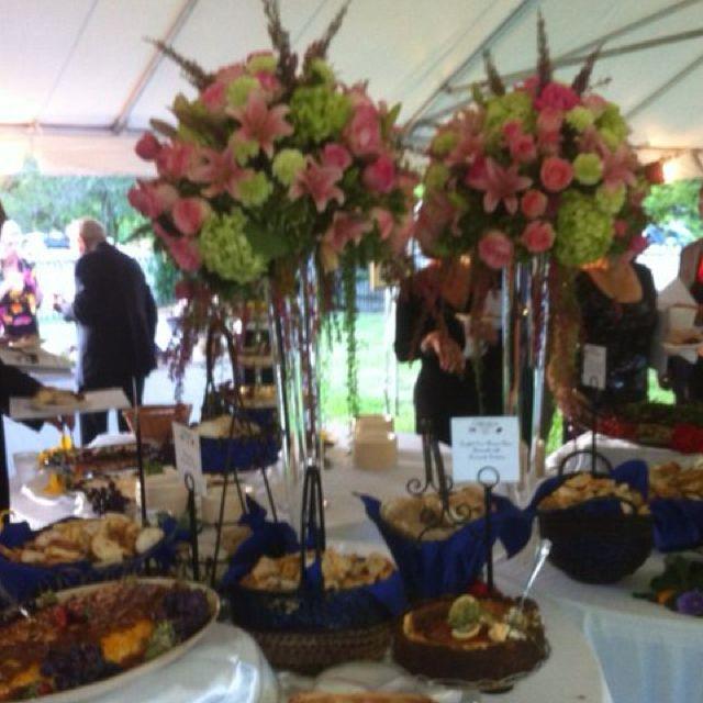 Pink and green buffet centerpieces for  Hospice House gala Atdweddingandeventflowers.com