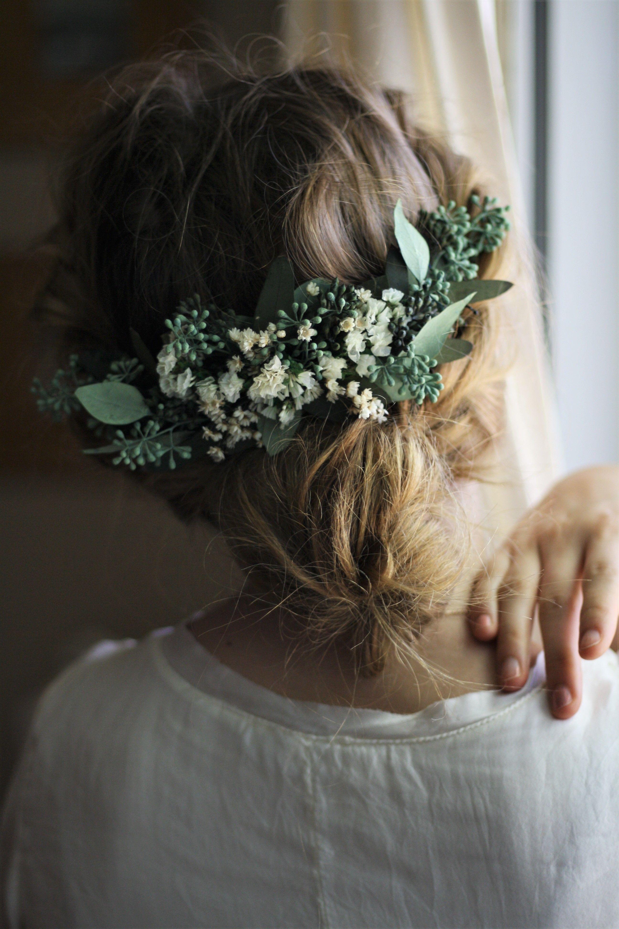 Eucalyptus Half Flower Crown Baby Breath Flower Greenery Crown Etsy Flower Garland Hair Flower Crown Bride Bridal Hair Flowers