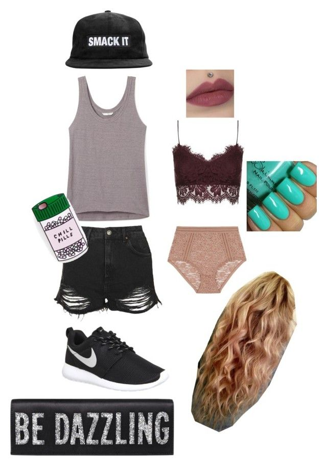 """""""Just a day out of the dorm."""" by caroline-weaver on Polyvore featuring Topshop, Lonely, Rebecca Minkoff, NIKE, women's clothing, women, female, woman, misses and juniors"""