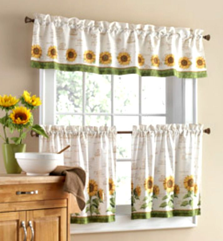 3 Pc Sunflower Theme Curtains 2 Tiers With Valance Kitchen Home