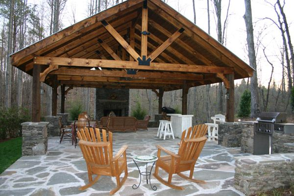 Creative Large Nice Adorable Cute Outdoor Pavilion Plan With Huge Wooden Design And Has Nice Stone Concrete Outdoor Pavilion Backyard Pavilion Backyard Gazebo