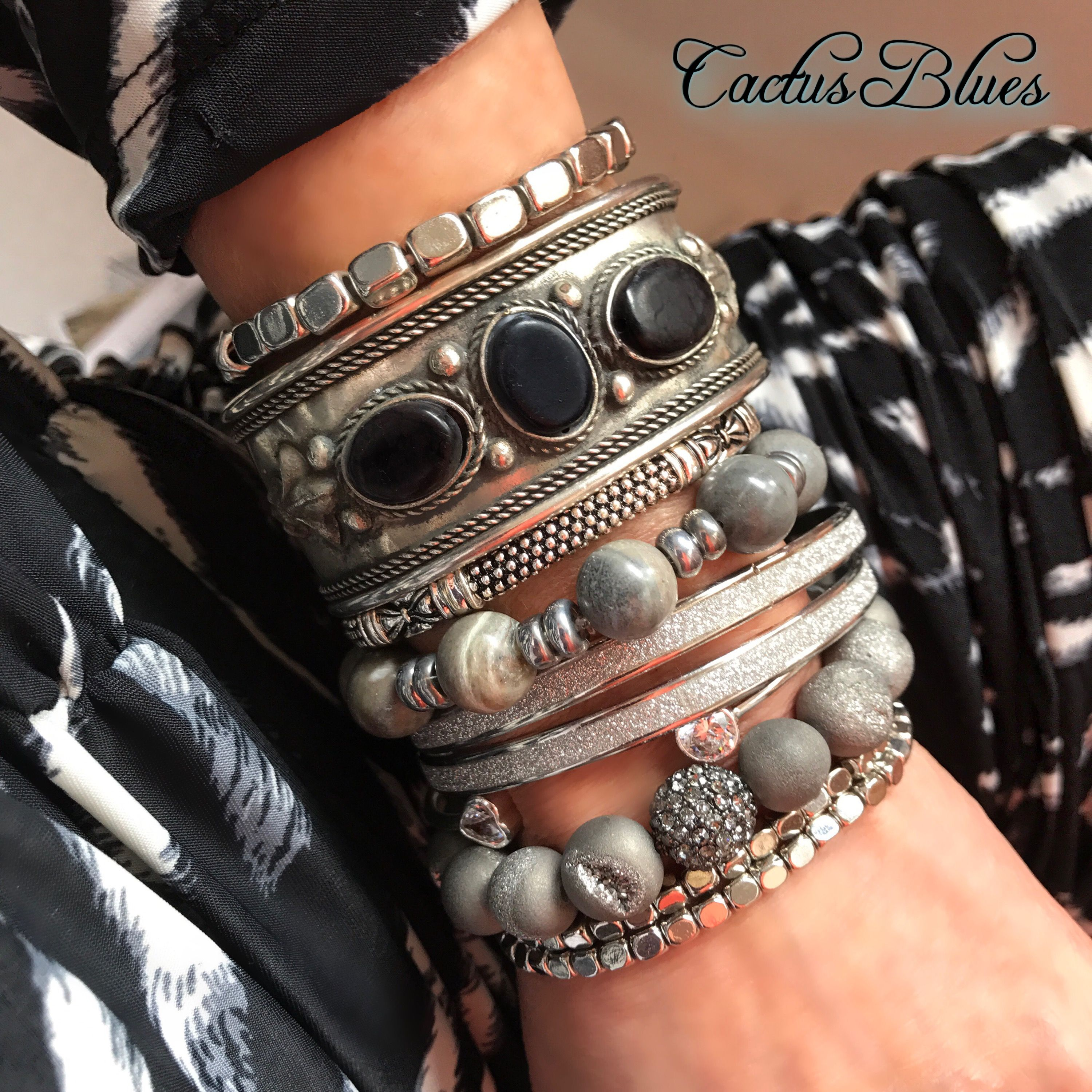 These black silver and gray bracelets are the perfect accessories