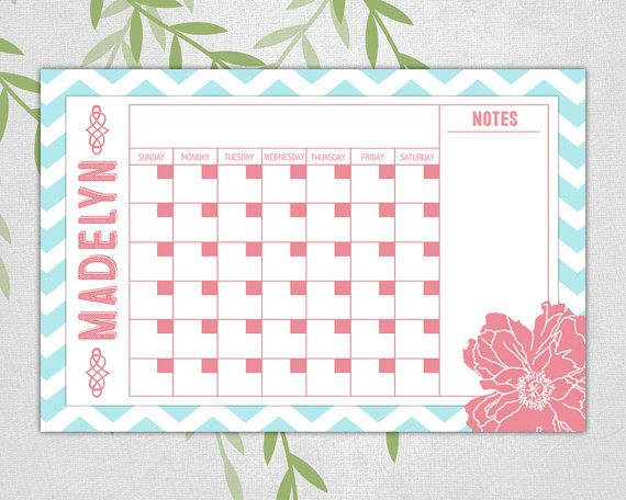 Chevron perpetual calendar dry erase calendar by WillowLanePrints - perpetual calendar template