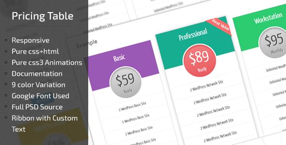 Shopping CCR WordPress Pricing Table Plugin - Responsivein each