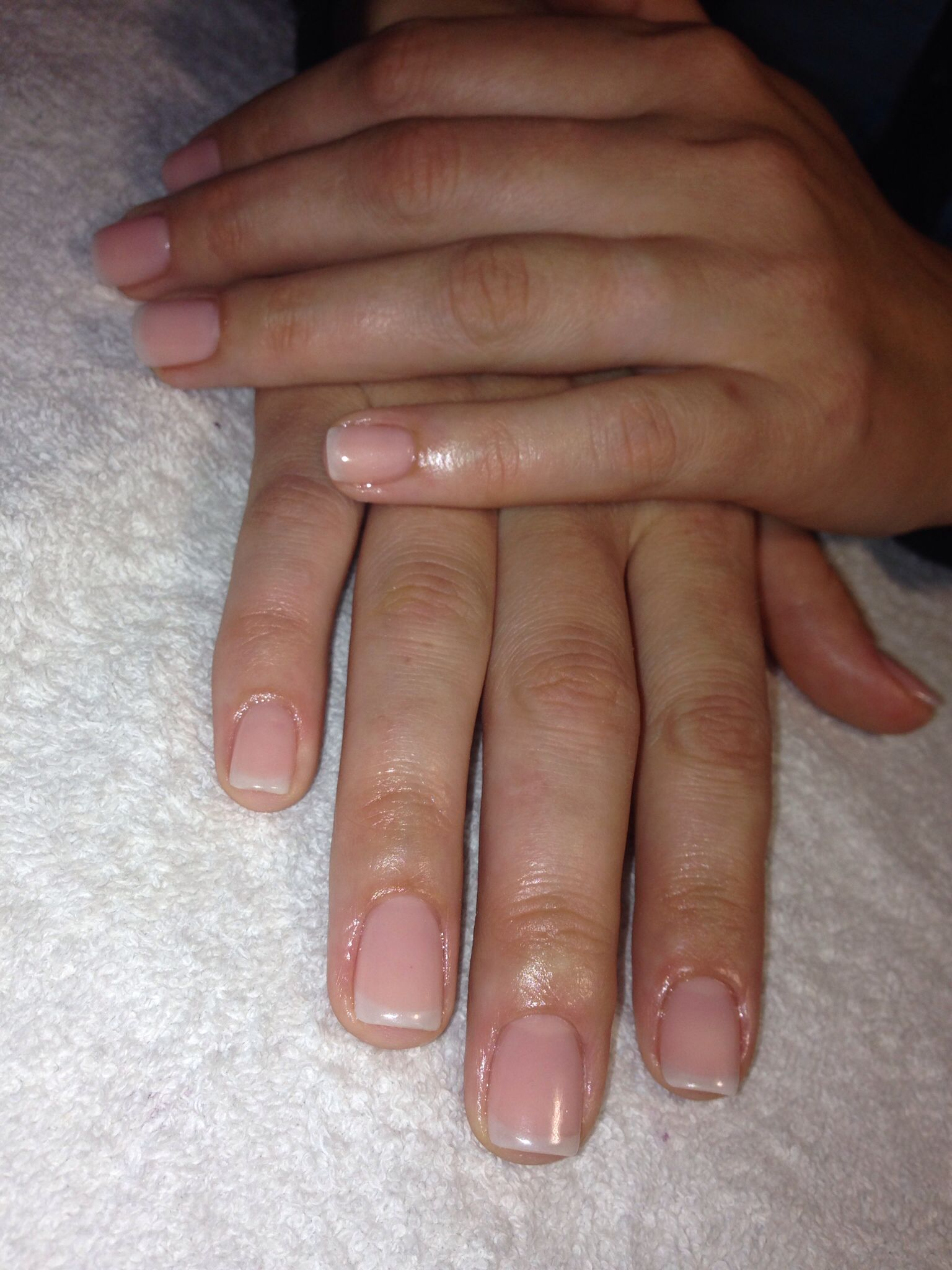 Off White French Acrylic Overlay Clear Nails Natural Short