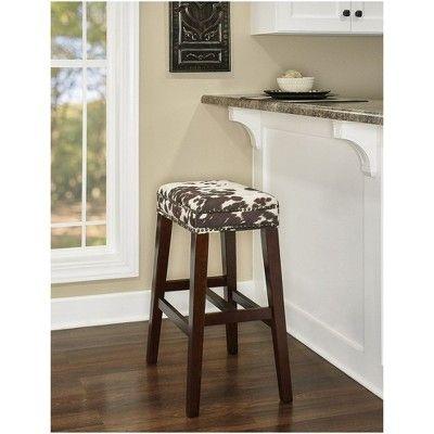 Swell Walt Cow Print Bar Stool Brown White Linon Black White In Dailytribune Chair Design For Home Dailytribuneorg