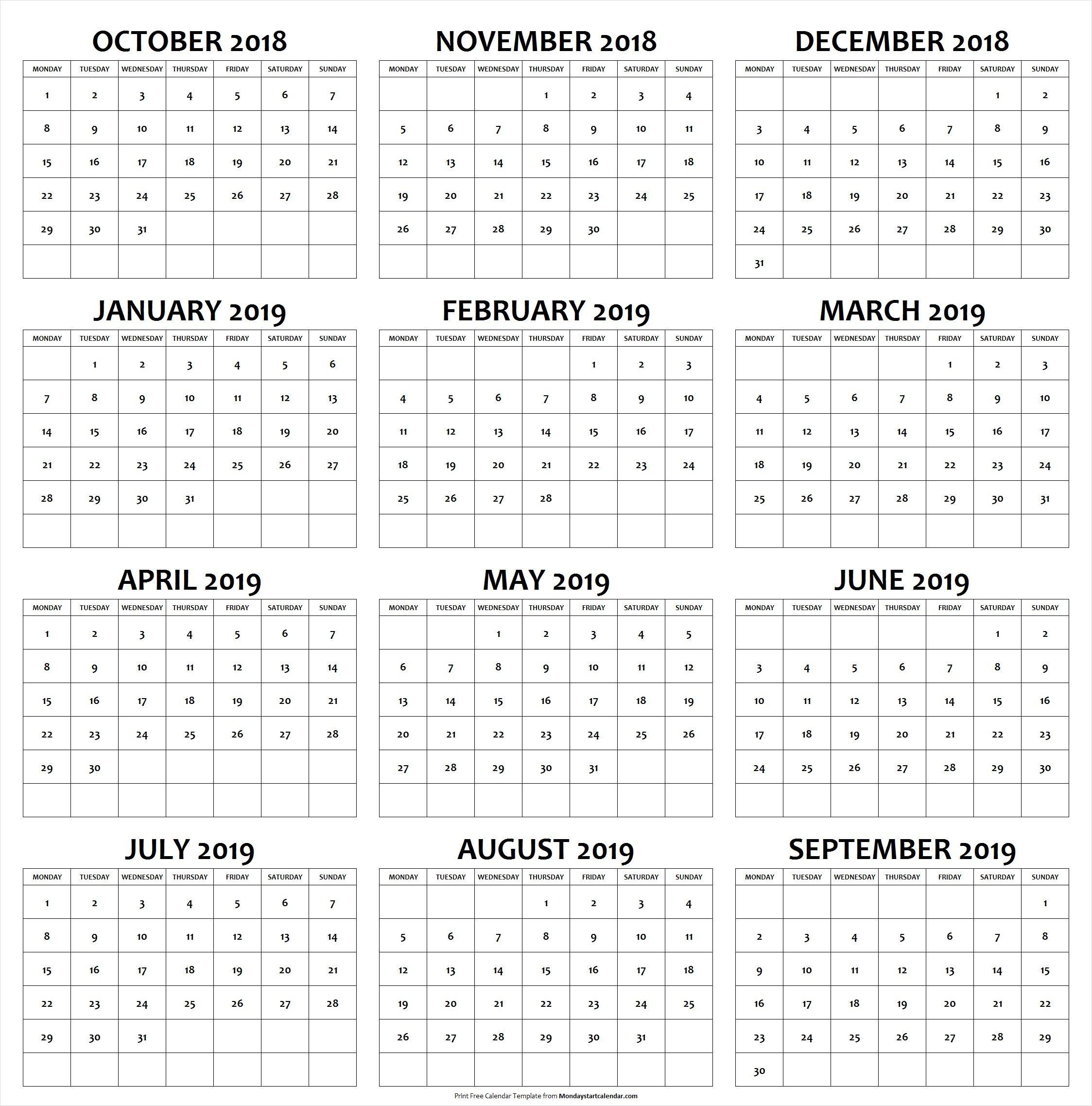 October 2018 To September 2019 School Holiday Calendar Federal