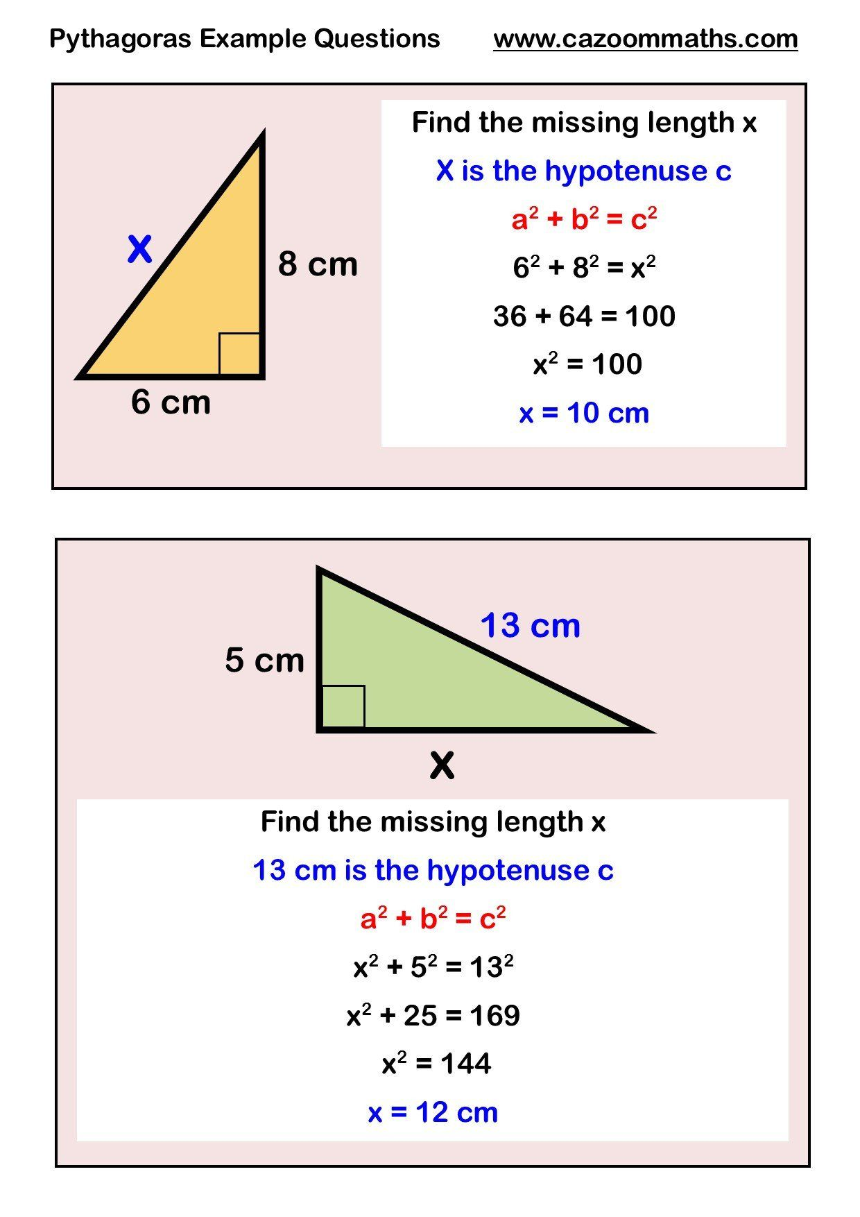 Pythagoras Theorem Worksheet Answers Pythagoras Worksheets Gcse Math Math Methods Studying Math