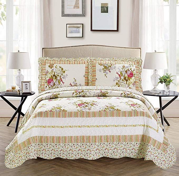 Mk Collection 3pc Full/Queen Oversize Reversible Quilted Bedspread