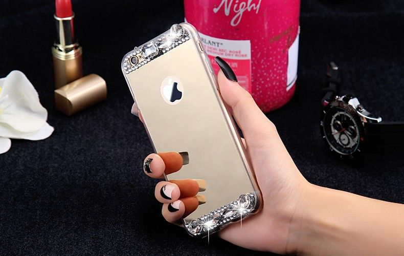 Fashion Bling Glitter Mirror Case For iPhone 6 6S For iPhone 6/6S Plus 5S SE Slim Soft Diamond Crystal Phone Cover - free shipping worldwide
