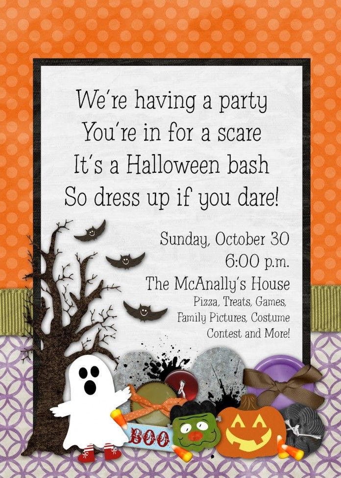 Kid-Friendly Halloween Birthday Invitations, non-scary halloween ...