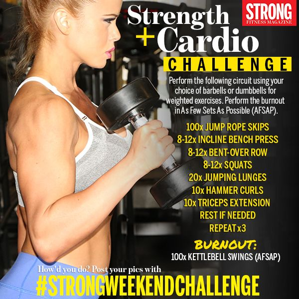 Get your pump on this weekend with this 2-in-1 training sesh! Tell us how you did by posting your pics with #STRONGWEEKENDCHALLENGE and share with your fit buddies. Good luck! With Ana Delia De Iturrondo Bikini Athlete/Fitness Model photo by Paul Buceta