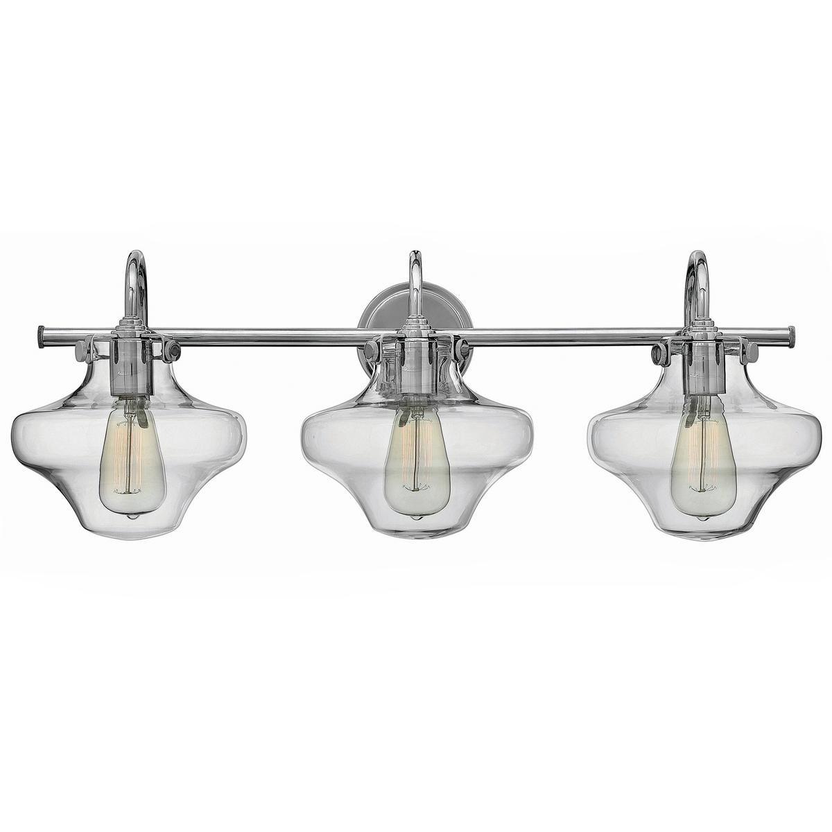 Modern Clear Schoolhouse Globe Vanity - 3 Light - Modern Clear Schoolhouse Globe Vanity - 3 Light Nickel Finish