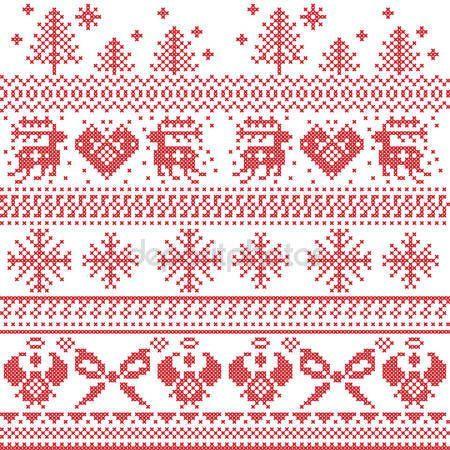 Patrón de Navidad nórdica escandinava con renos, conejos, árboles de ...