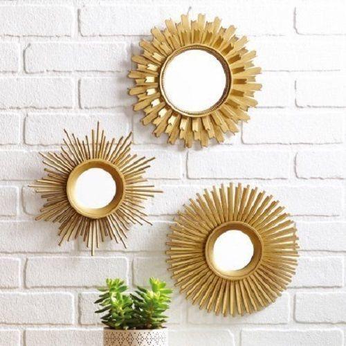 NEW Sunburst Mirrors Gold 3PC Set Modern Unique Starburst Sun Round Wall  Decor Introduce A Sophisticated