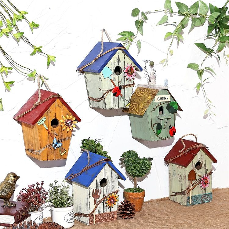 Handmade Wooden Birdcage Outdoor And Retro Gardening Birdnest Decorations Small Wooden House Vint Bird Houses Painted Decorative Bird Houses Wooden Bird Houses