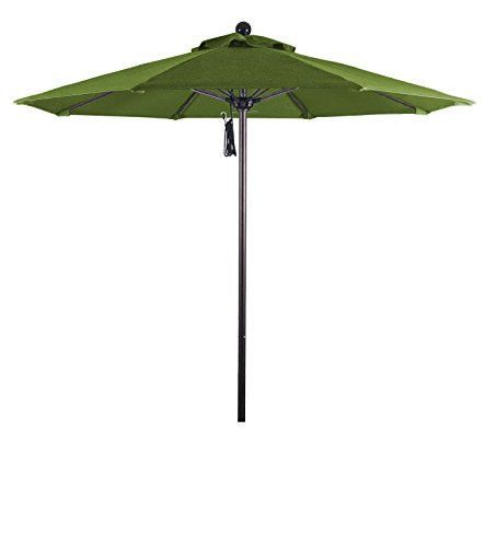 Eclipse Collection 7.5' Fiberglass Market Umbrella Pulley Open Bronze/Pacifica/Palm