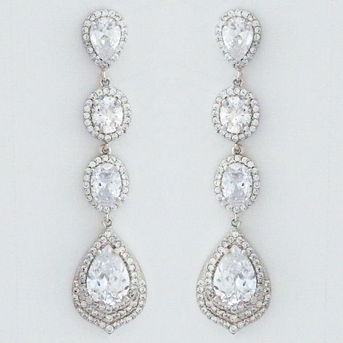 Long Dangling Delicate Cz Teardrop Earrings For Bridal Or Formal Affairs 150 00
