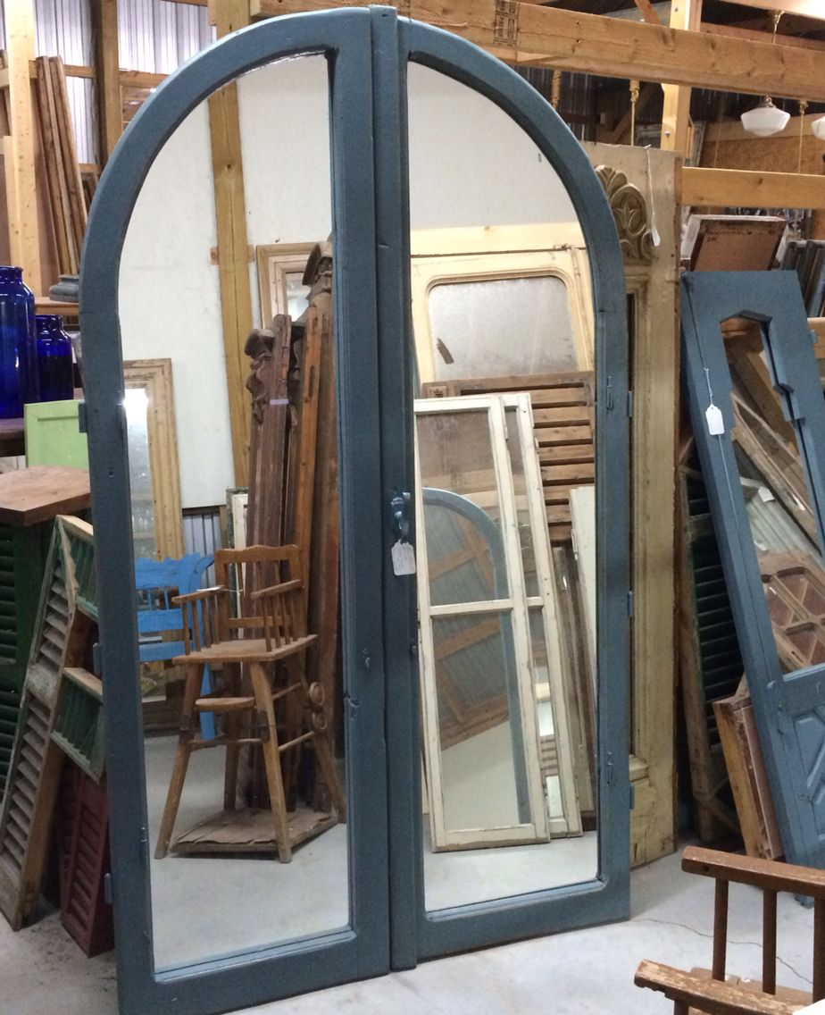 Mirrored Antique Arched Window In Blue Paint Architectural