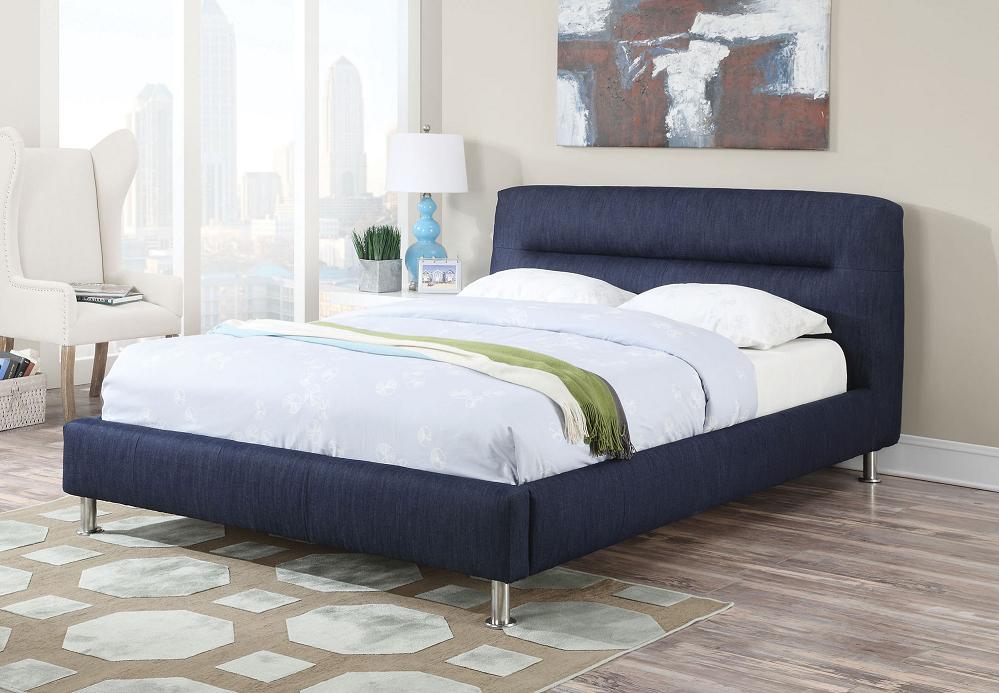 Blue Denim Eastern King Platform Bed Panel bed, King bed