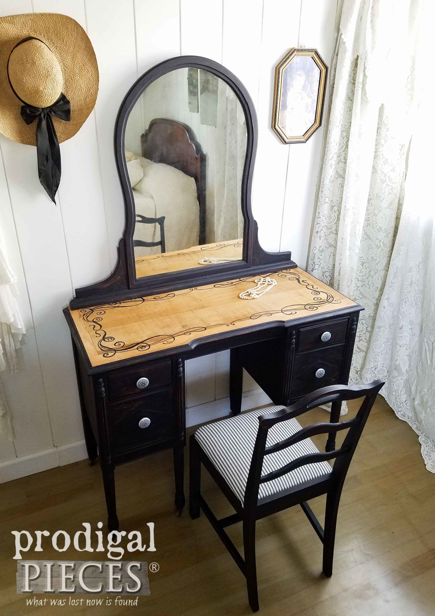 Black Antique Vanity ~ Rustic & Refined - Prodigal Pieces - Black Antique Vanity ~ Rustic & Refined Antique Vanity, Vanities