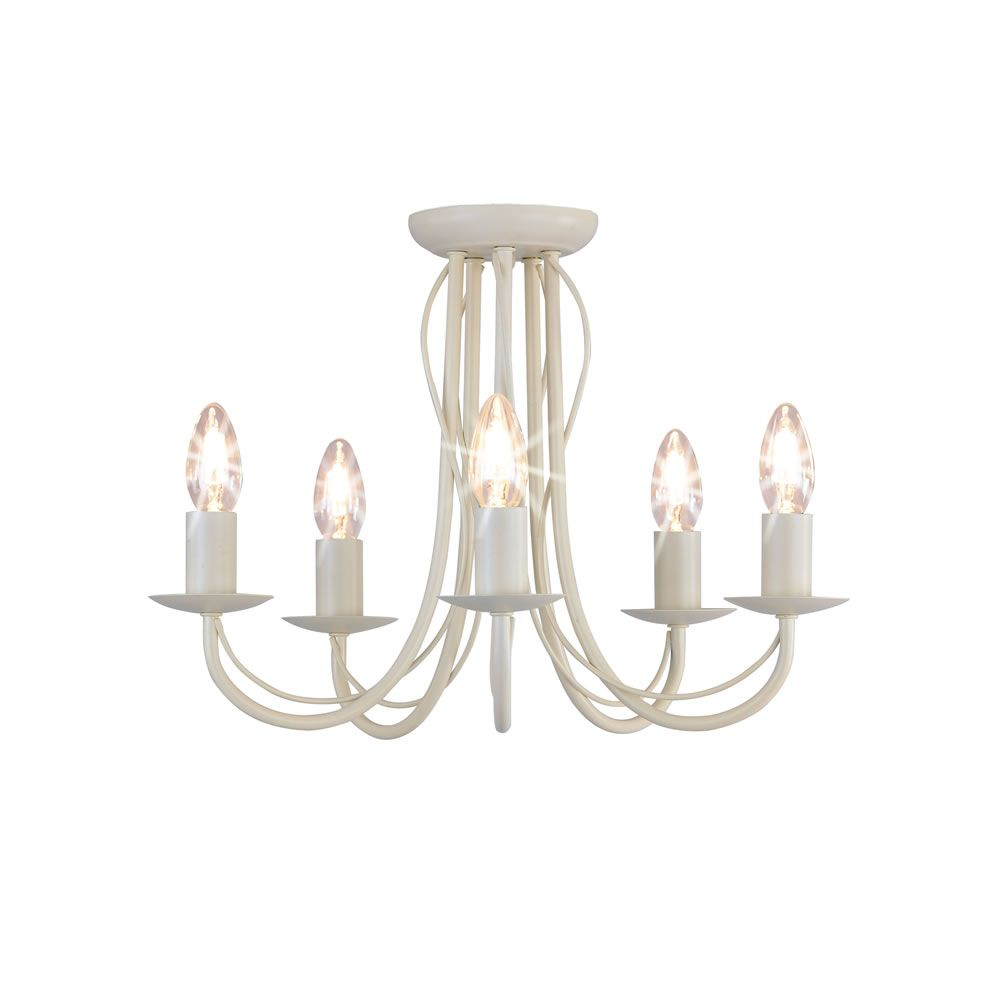 Wilko 5 Arm Chandelier Metal Ceiling Light Fitting Cream