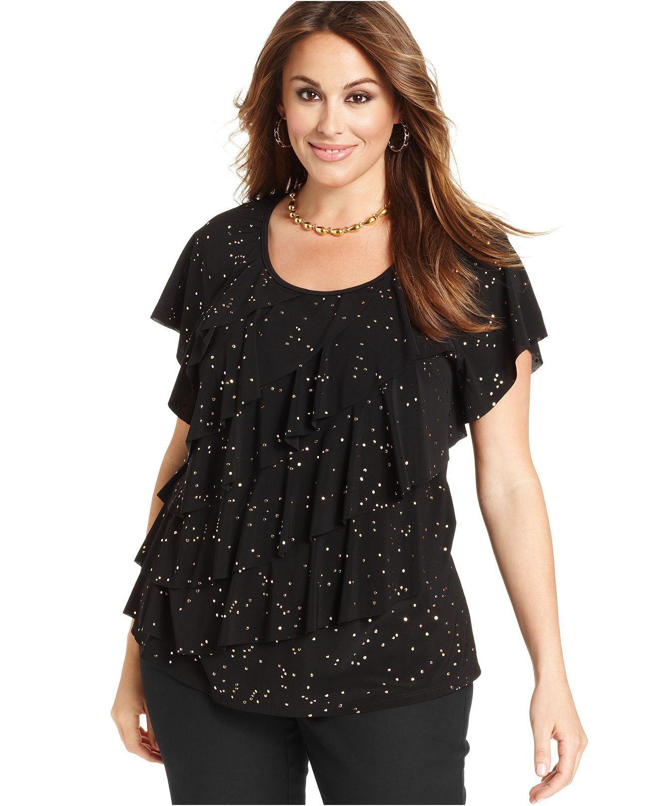 elementz plus size top, short-sleeve studded ruffle - plus size
