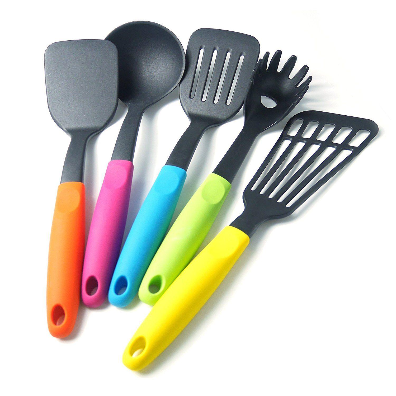 Restaurant Kitchen Utensils: LEMCASE Nylon Kitchen Cooking Utensil Set (5-Piece, Colorful Silicone Handle)
