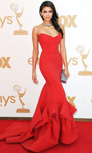Nina Dobrev In Donna Karan Red Trumpet Gown