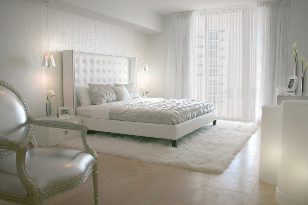 Elegant White Bedroom With Fluffy Rug