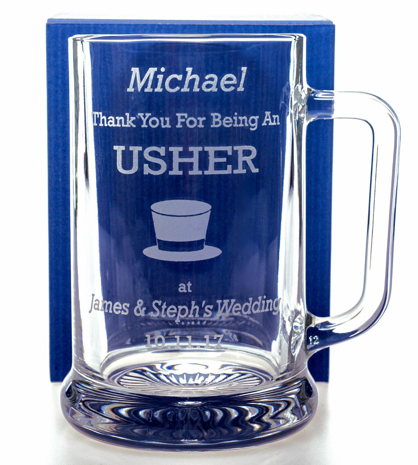 Engraved Wedding Top Hat Pint Glass Tankard Gift For Best Manusher