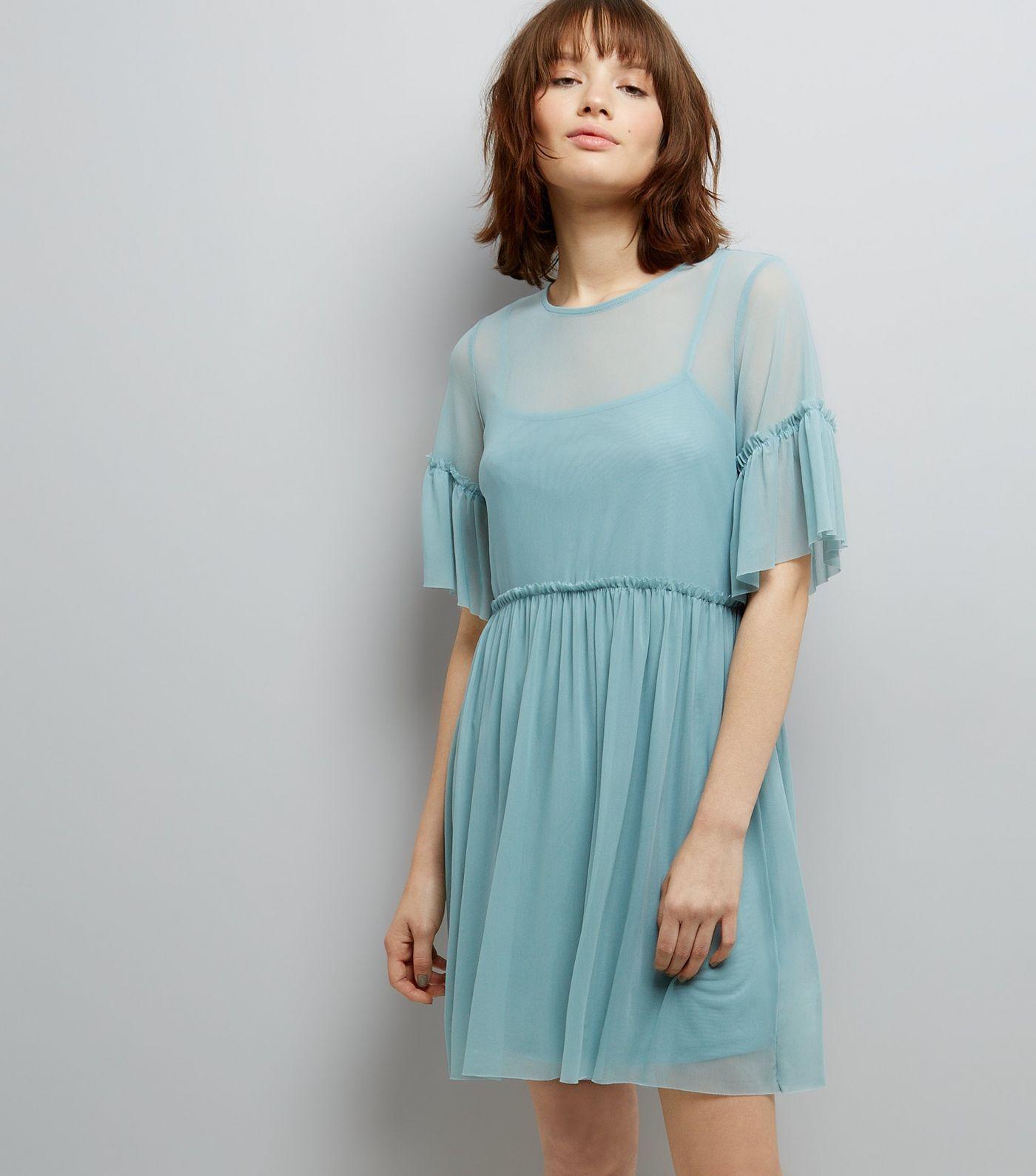 Pale Blue Mesh Skater Dress | New Look | fashion | Pinterest | Shopping