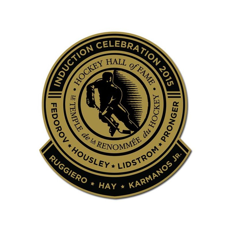 2015 HHOF Induction lapel pin features the surnames of all seven 2015 HHOF Inductees (Fedorov, Housley, Lidstrom, Pronger, Ruggiero, Hay and Karmanos Jr.).
