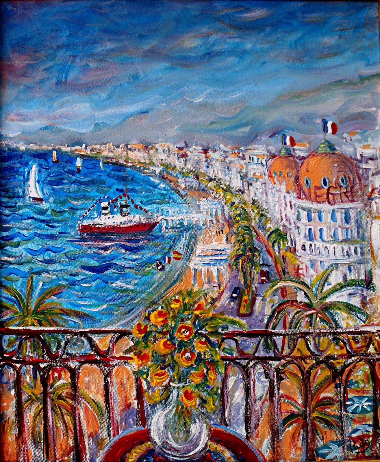 Peinture de Jacques RUIZ: Nice Baie des Anges   Nice baie des anges, La baie des anges, Peinture