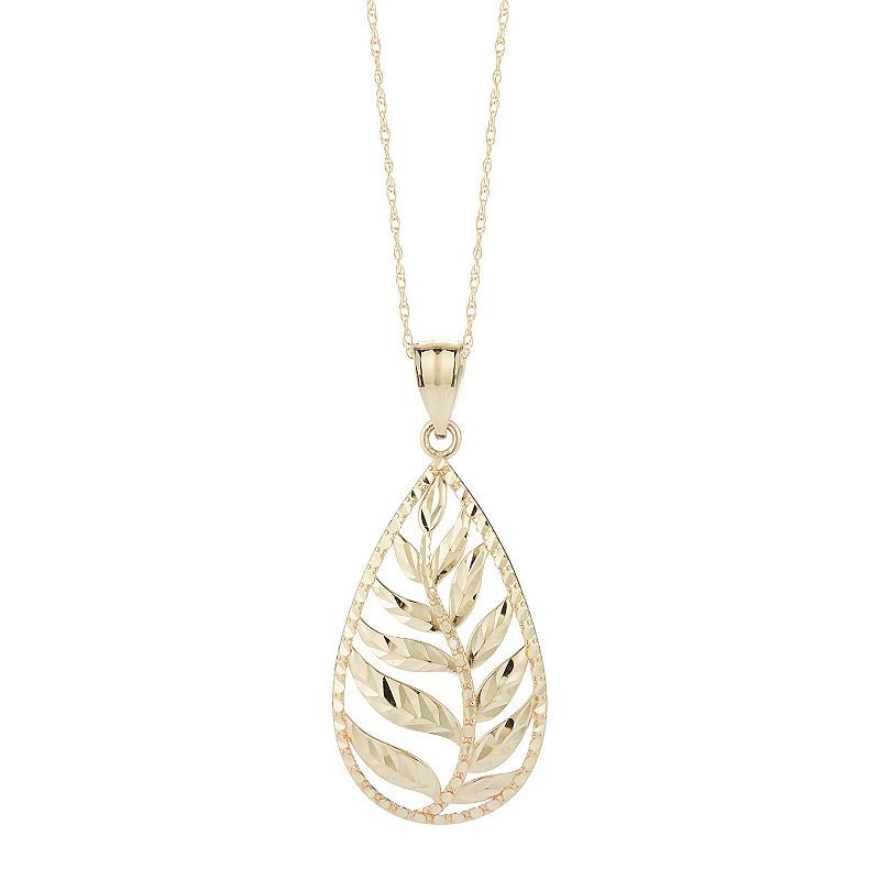 Womens 10k Gold Pear Pendant Necklace Pear Pendant Pendant Necklace 10k Gold Chain
