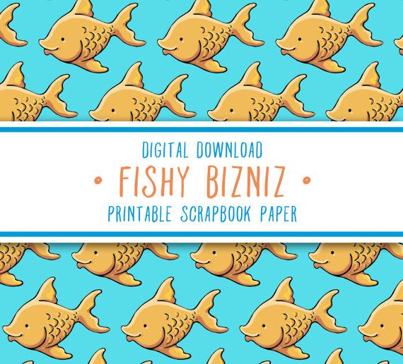 FishyBizniz • Digital Printable Scrapbook Paper Fish Illustration Graphics