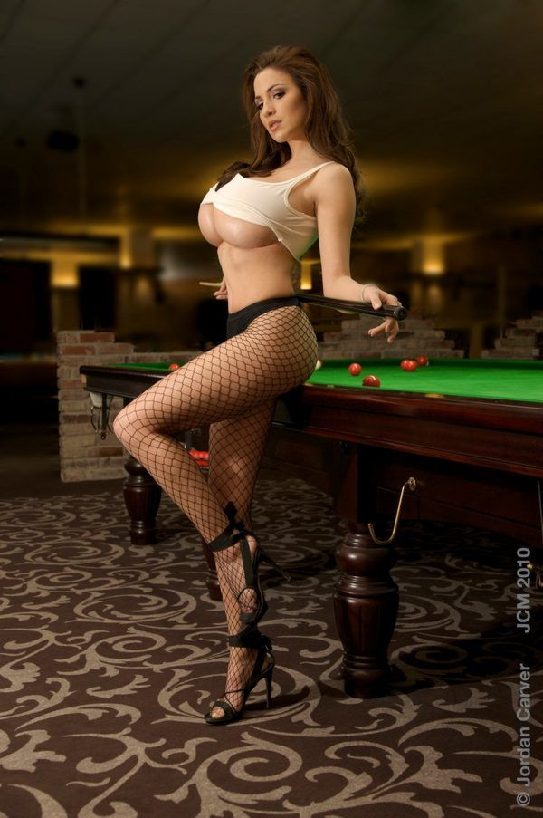 There similar nude cutie on billiard table