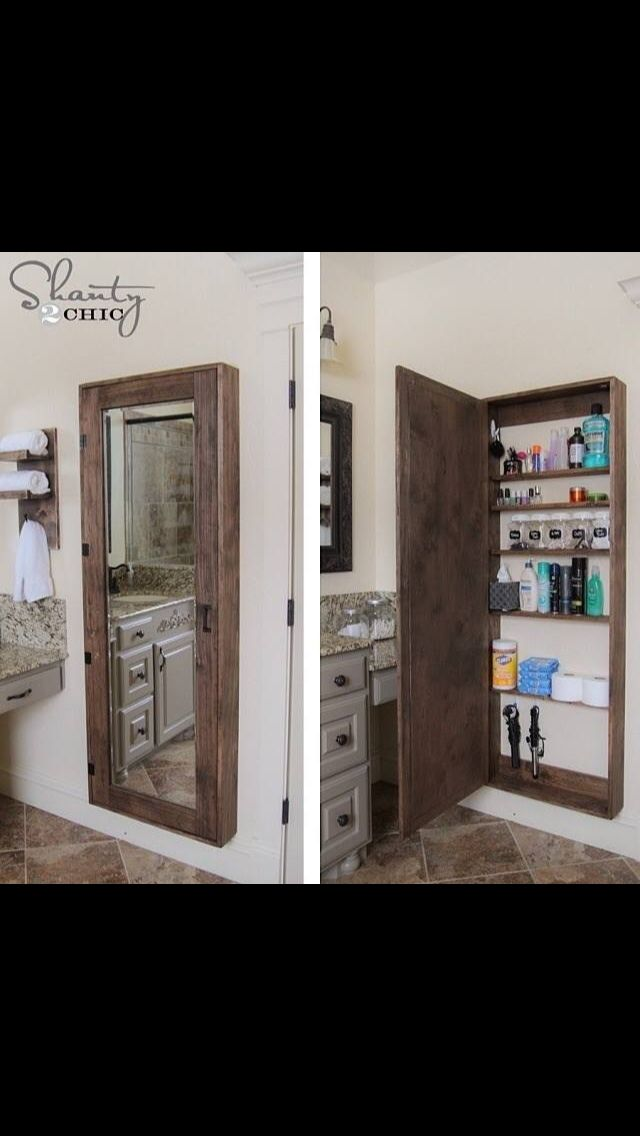 Mirror hidden treasures bathroom organization - Bathroom mirror with hidden storage ...