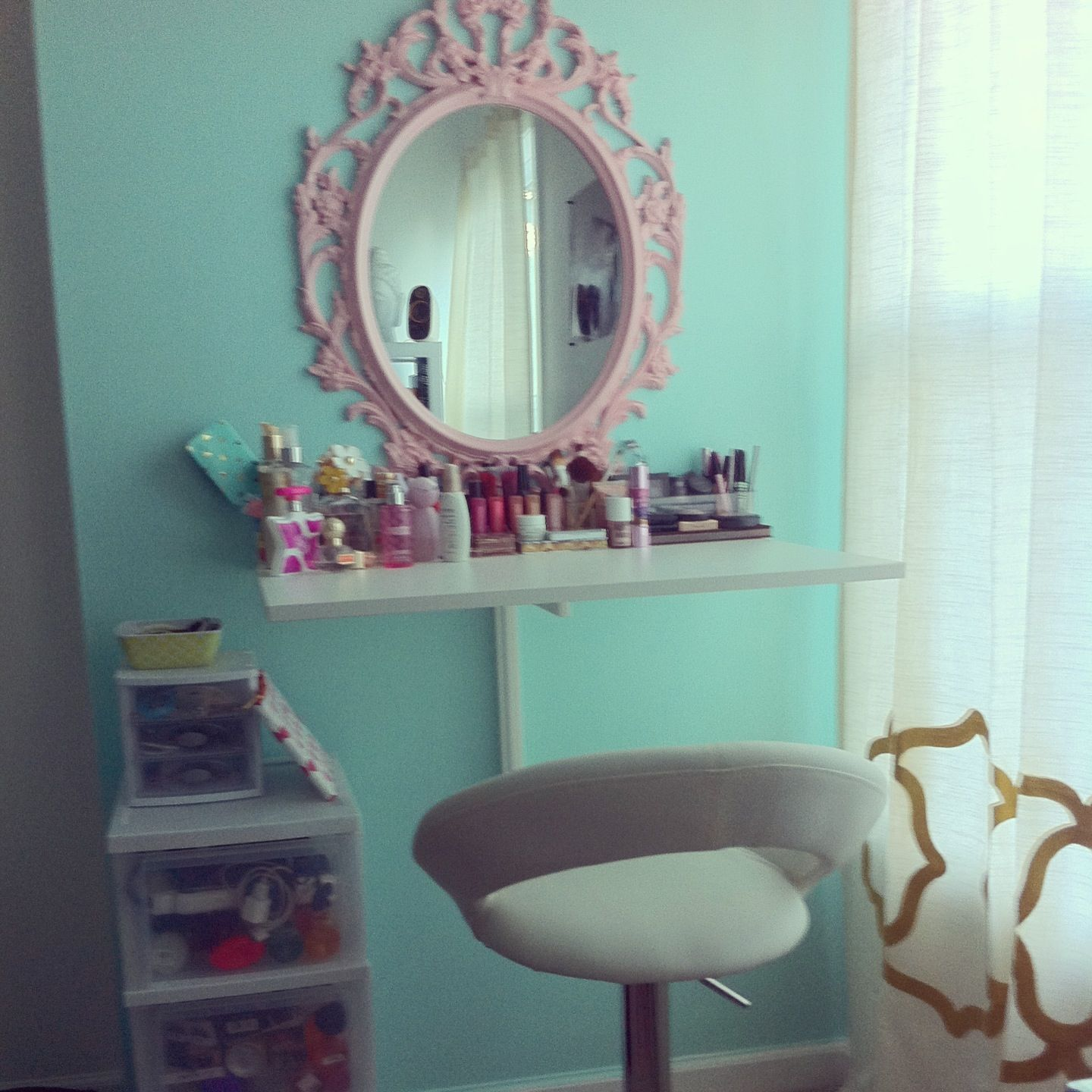 - i can put 2 drawers underneath the waall desk for storage! DIY vanity. Ikea wall desk. Ikea ...