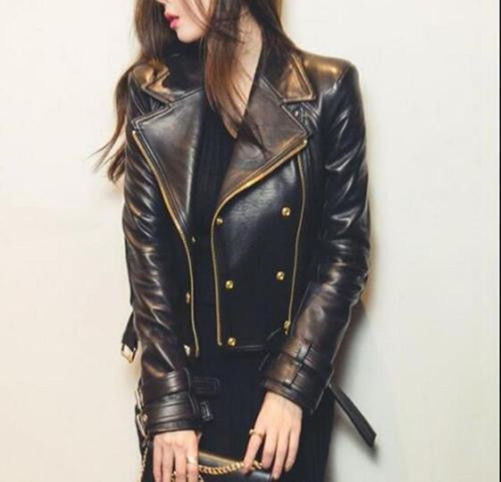 Women Stylish Lapel Short PU Leather Slim Fit Zip Motorcycle Jacket Trench Coat