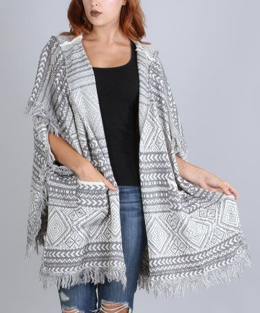 Gray Geometric Fringe Hooded Ruana @tonjaamenra