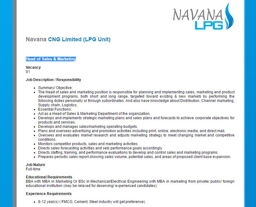 Navana Cng Limited (Lpg Unit) - Head Of Sales & Marketing - Jobs