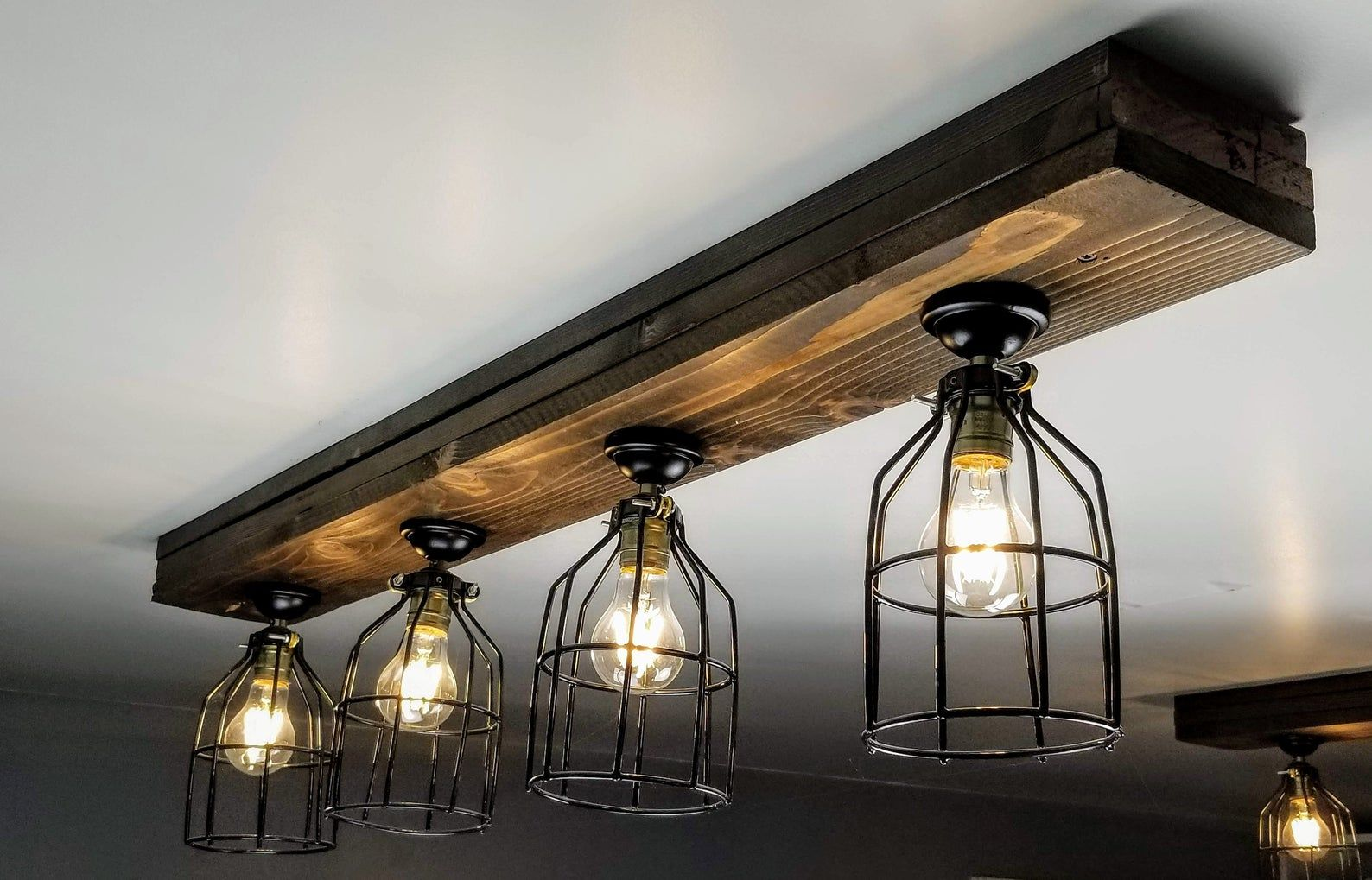Farmhouse Beam Light With Cages Bulbs Included Etsy Farmhouse Ceiling Light Rustic Track Lighting Barn Lighting