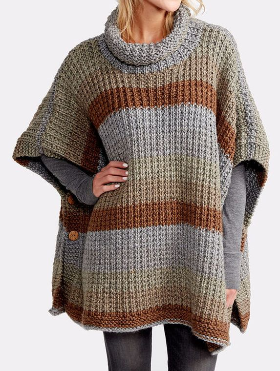 Free Knitting Pattern For 2 Row Repeat Cozy Up Poncho Knitting