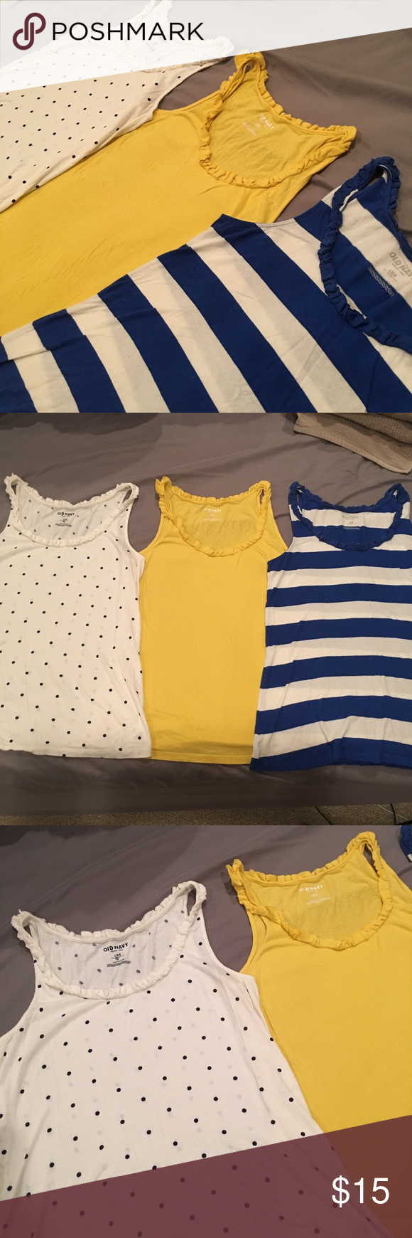 Lot of 3 Old Navy Tank Tops Super Cute tops size L. Some Slight wash wear but still in great shape Old Navy Tops Tank Tops