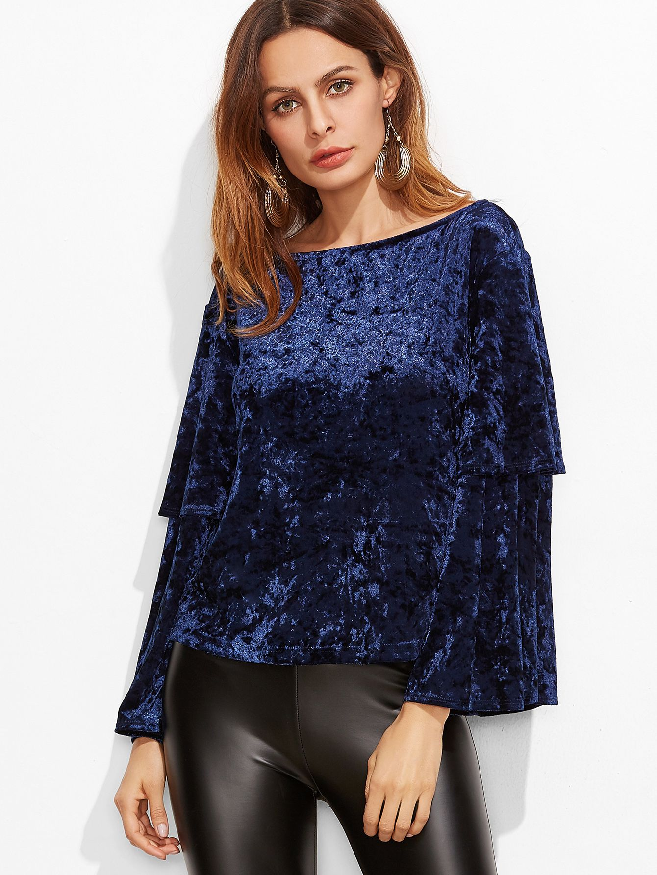 28117185e4 Shop Navy Boat Neck Layered Bell Sleeve Velvet Top online. SheIn offers  Navy Boat Neck Layered Bell Sleeve Velvet Top & more to fit your  fashionable needs.