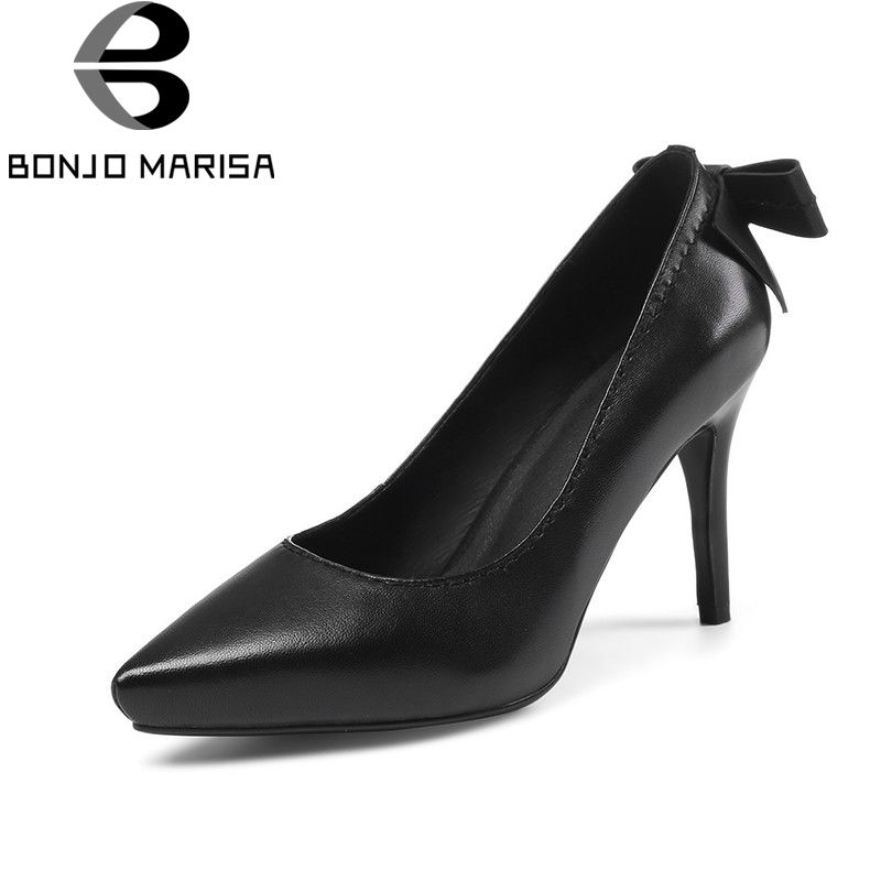 180103978a BONJOMARISA 2018 Spring Autumn New Genuine Leather Women Bow Pumps Elegant  Lady Work Shoes Woman High