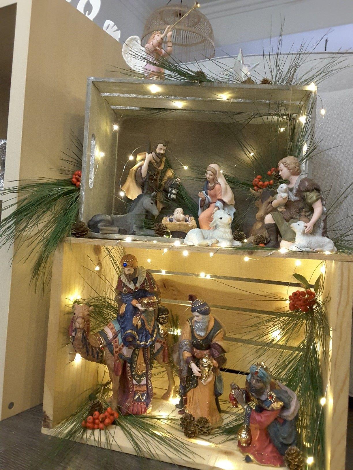 4b961b3ccf6 Pesebre en cajitas fireplace pinterest navidad Decoracion para nacimiento