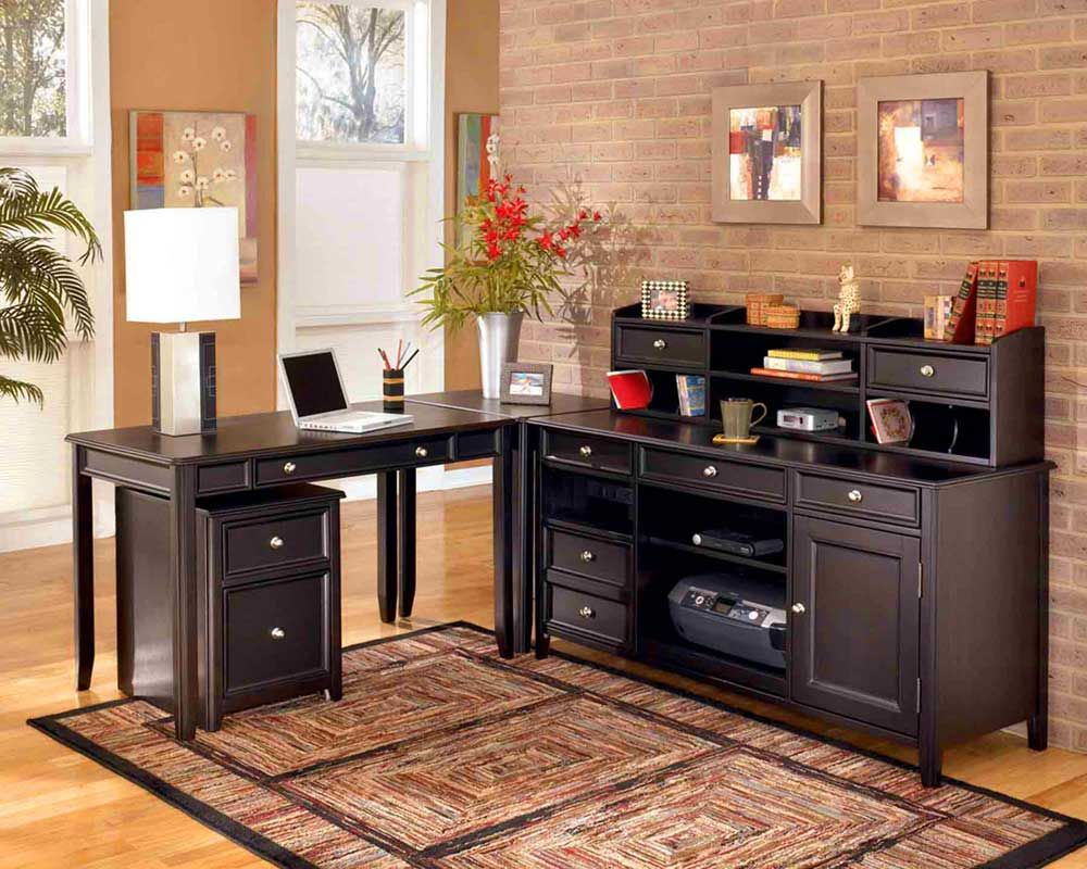 Enchanting Home Office Design Idea with Classy Black Lshaped Work